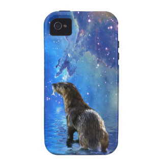 Funny River Otter and Space Nebulae Astronomy Pun iPhone 4 Case