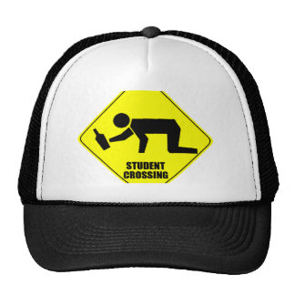Funny Road Sign - Drunk Student Crossing Hat