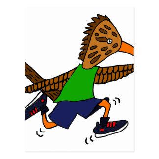 Funny Roadrunner Jogger Cartoon Postcard