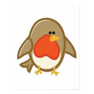 Funny Robin on White Postcard