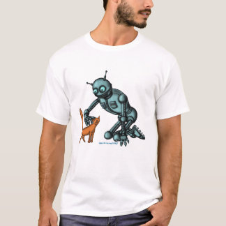 Funny robot and cat t-shirt design