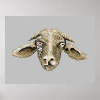 Funny Robot Goat Art Science Fiction Animal Design Poster