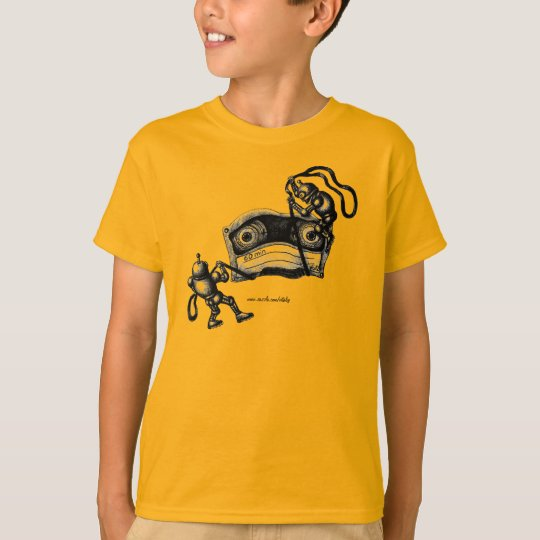 Funny robots destroying cassette tape drawing T-Shirt