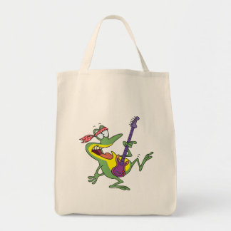 funny rock and roll bass guitar froggy frog canvas bags