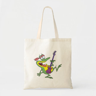 funny rock and roll bass guitar froggy frog budget tote bag