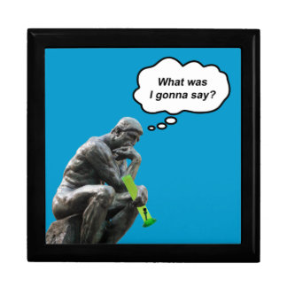 Funny Rodin Thinker Statue - What Was I Gonna Say? Large Square Gift Box