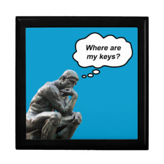 Funny Rodin's Thinker Statue - Where Are My Keys? Large Square Gift Box