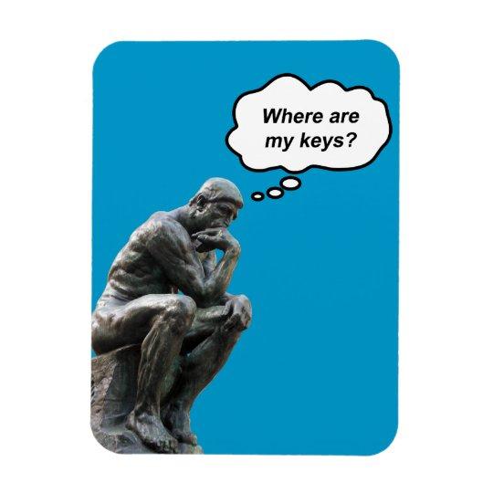 Funny Rodin's Thinker Statue - Where Are My Keys? Rectangular Photo Magnet