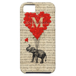 Funny romantic elephant and love heart case for the iPhone 5