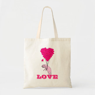 Funny romantic pig valentines love budget tote bag
