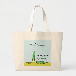 Funny Romantic Silkworm Caterpillars Cartoon Jumbo Tote Bag