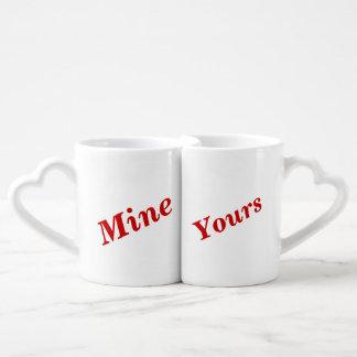 Funny romantic text coffee mug set