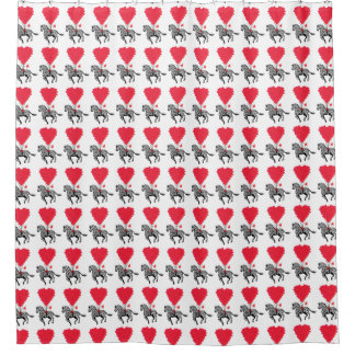 Funny romantic Zebra and heart  pattern Shower Curtain