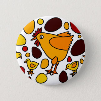 Funny Rooster and Chickens Art Abstract 6 Cm Round Badge