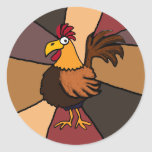 Funny Rooster Art Round Sticker