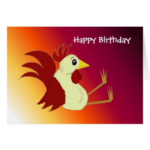 Funny Rooster Birthday Note Card