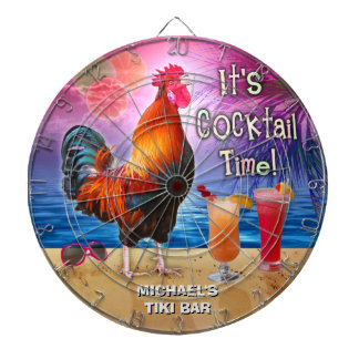 Funny Rooster Chicken Cocktail Tropical Beach Name Dartboard