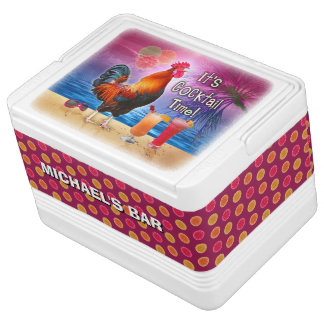 Funny Rooster Chicken Cocktail Tropical Beach Name Igloo Cooler