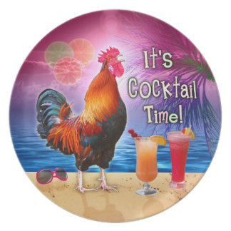 Funny Rooster Chicken Cocktails Tropical Beach Sea Dinner Plate