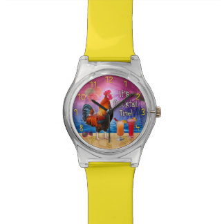 Funny Rooster Chicken Cocktails Tropical Beach Sea Watches