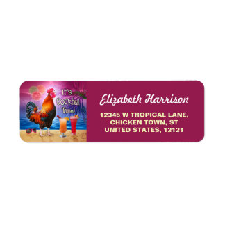 Funny Rooster Chicken CocktailTropical Beach Sea Return Address Label