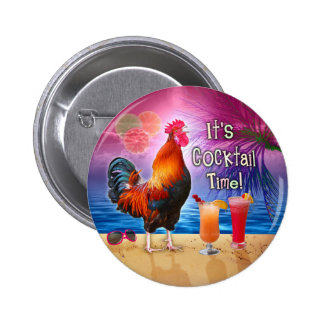 Funny Rooster Chicken Drinking Tropical Beach Sea 6 Cm Round Badge