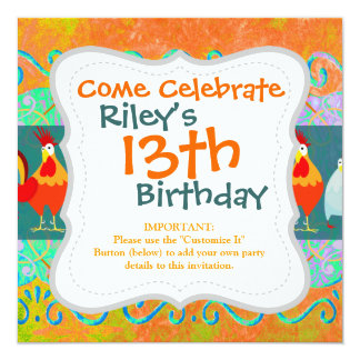 Funny Rooster Hen Funky Chicken Farm Animal Gifts 13 Cm X 13 Cm Square Invitation Card