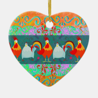 Funny Rooster Hen Funky Chicken Farm Animal Gifts Ceramic Heart Decoration