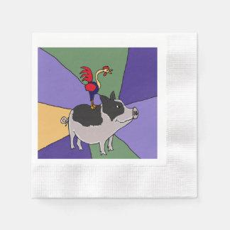 Funny Rooster on Pig Folk Art Paper Napkin