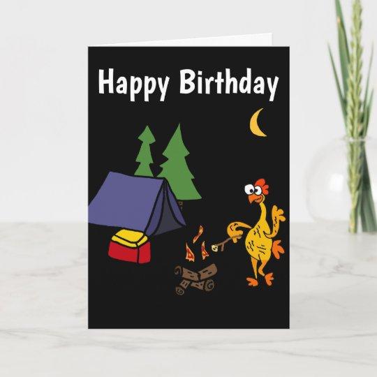 Funny Rubber Chicken Camping Cartoon Card Zazzle