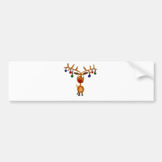Funny Rudolph Red Nosed reindeer Christmas Art Bumper Sticker