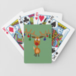 Funny Rudolph Red Nosed reindeer Christmas Art Poker Deck