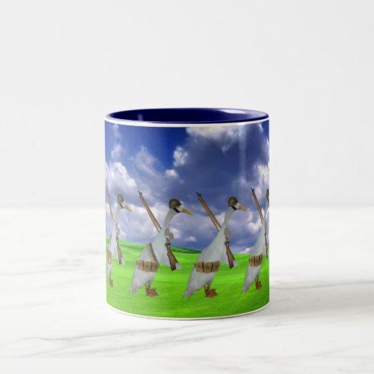 Funny runner duck Two-Tone coffee mug