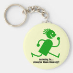 Funny running basic round button key ring