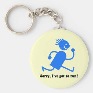 Funny running basic round button key ring