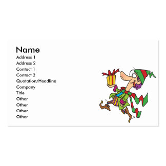 funny running christmas elf with present cartoon business card template