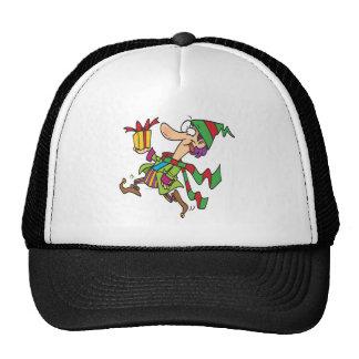 funny running christmas elf with present cartoon hats