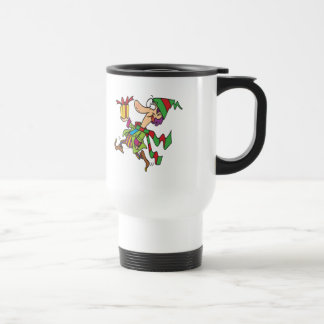funny running christmas elf with present cartoon mugs