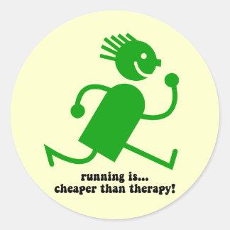 Funny running classic round sticker