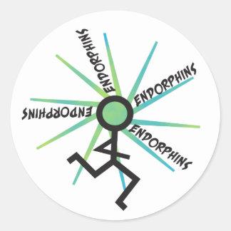 Funny Running Endorphins Round Sticker