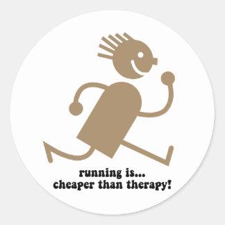 Funny running round sticker