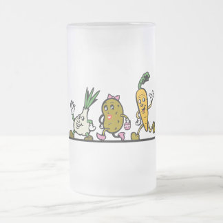 funny running vegetables frosted glass mug