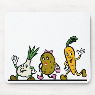 funny running vegetables mouse pad