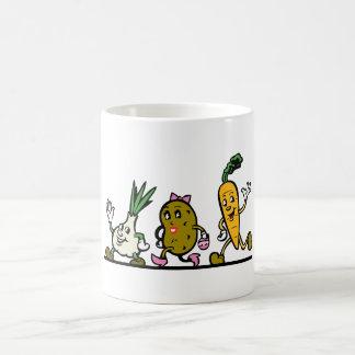 funny running vegetables mugs
