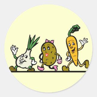 funny running vegetables round sticker