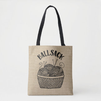 Funny Rustic Burlap Yarn Ball Sack Tote Bag