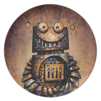 Funny Rusty Vintage Robot Plate