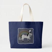 Funny Sad Emo Unicorn Alone Large Tote Bag