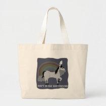 Funny Sad Emo Unicorn Large Tote Bag