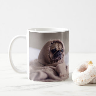 Funny Sad Pug in A Blanket Coffee Mug